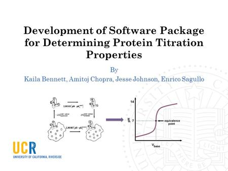 Development of Software Package for Determining Protein Titration Properties By Kaila Bennett, Amitoj Chopra, Jesse Johnson, Enrico Sagullo.