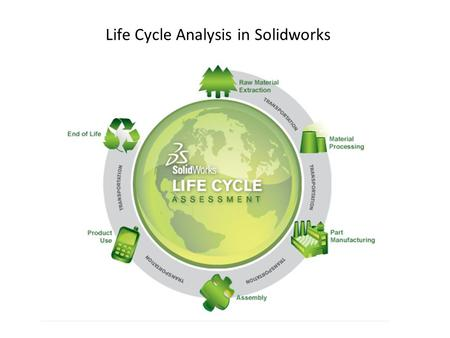 Life Cycle Analysis in Solidworks. Environmental Impacts measured by Solidworks ▪Carbon Footprint ▪Energy Consumed ▪Air Acidification ▪Water Eutrophication.