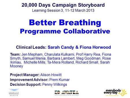 20,000 Days Campaign Storyboard Learning Session 3, 11-12 March 2013 Better Breathing Programme Collaborative Clinical Leads: Sarah Candy & Fiona Horwood.