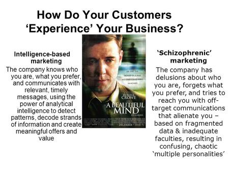 How Do Your Customers 'Experience' Your Business? Intelligence-based marketing The company knows who you are, what you prefer, and communicates with relevant,