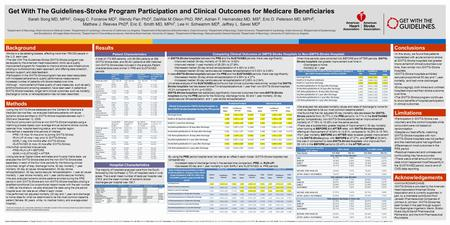 Background Using the GWTG-Stroke database and the Centers for Medicare & Medicaid Service files, we analyzed Medicare patients with acute ischemic stroke.