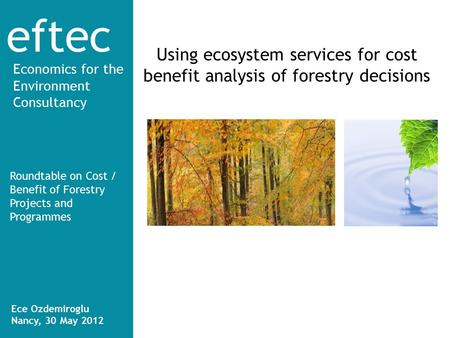 Eftec Economics for the Environment Consultancy Using ecosystem services for cost benefit analysis of forestry decisions Roundtable on Cost / Benefit of.