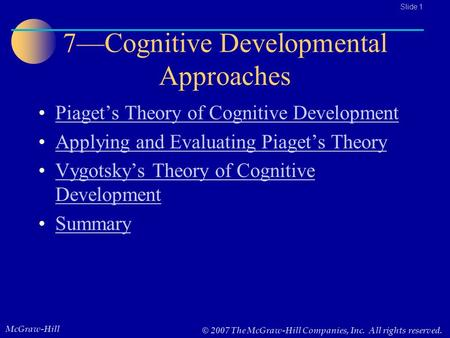7—Cognitive Developmental Approaches