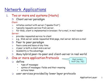 "Application Layer1 Network Applications 1. Two or more end systems (Hosts) r Client server paradigm Client: m initiates contact with server (""speaks first"")"