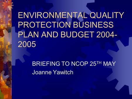 ENVIRONMENTAL QUALITY PROTECTION BUSINESS PLAN AND BUDGET 2004- 2005 BRIEFING TO NCOP 25 TH MAY Joanne Yawitch.