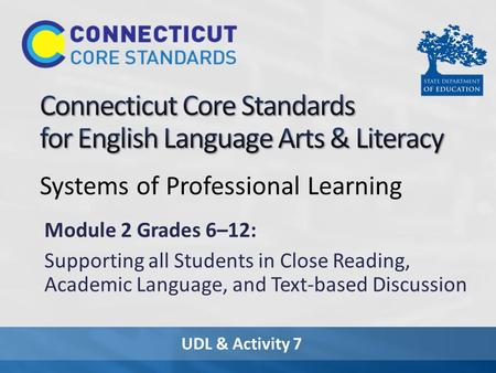 UDL & Activity 7 Systems of Professional Learning Module 2 Grades 6–12: Supporting all Students in Close Reading, Academic Language, and Text-based Discussion.