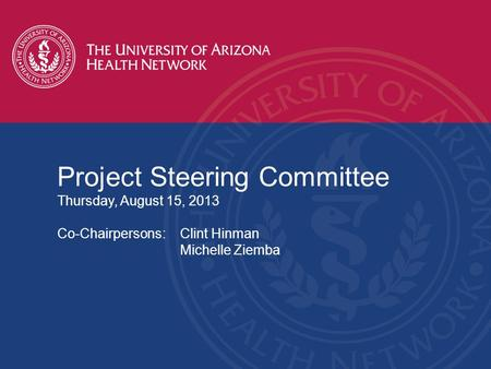 Project Steering Committee Thursday, August 15, 2013 Co-Chairpersons:Clint Hinman Michelle Ziemba.