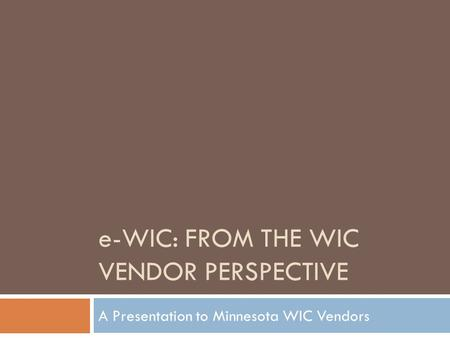 e-WIC: From the WIC Vendor Perspective