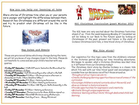 KS1 Christmas Curriculum Quest Winter 2013 The KS1 team are very excited about the Christmas festivities ahead of us. From the week beginning Monday 2.