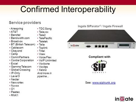 Confirmed Interoperability