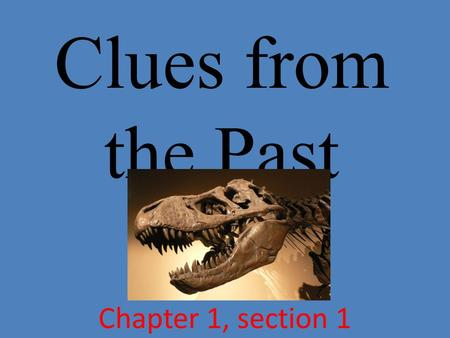 Clues from the Past Chapter 1, section 1.