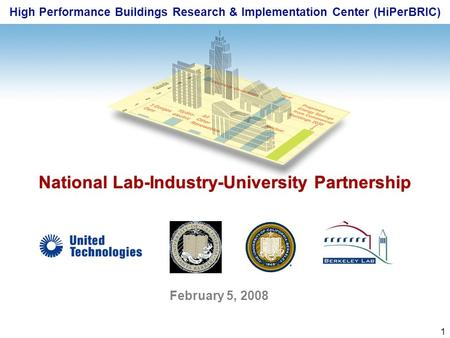 1 High Performance Buildings Research & Implementation Center (HiPerBRIC) National Lab-Industry-University Partnership February 5, 2008.