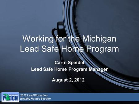 2012 Lead Workshop Healthy Homes Section August 2, 2012 Working for the Michigan Lead Safe Home Program Carin Speidel Lead Safe Home Program Manager.