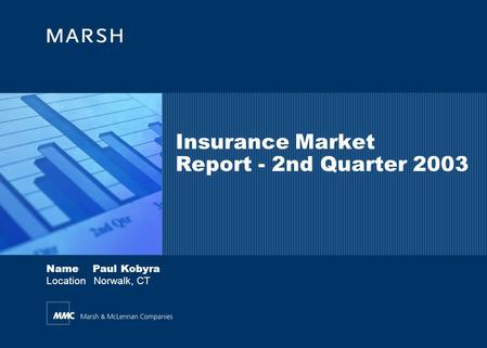 Name Paul Kobyra Location Norwalk, CT Insurance Market Report - 2nd Quarter 2003.
