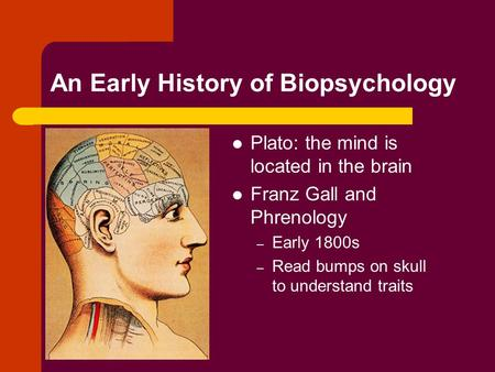 An Early History of Biopsychology Plato: the mind is located in the brain Franz Gall and Phrenology – Early 1800s – Read bumps on skull to understand traits.