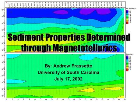 Sediment Properties Determined through Magnetotellurics By: Andrew Frassetto University of South Carolina July 17, 2002.