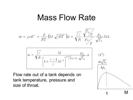 Mass Flow Rate M 1 Flow rate out of a tank depends on tank temperature, pressure and size of throat.