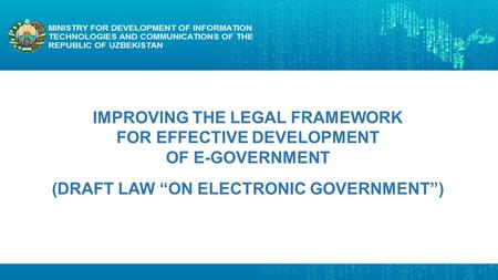 "(DRAFT LAW ""ON ELECTRONIC GOVERNMENT"")"