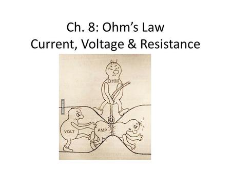 Ch. 8: Ohm's Law Current, Voltage & Resistance. Electric potential Energy increases when unlike charges move further apart Electric potential difference.
