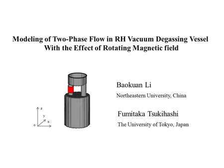 Modeling of Two-Phase Flow in RH Vacuum Degassing Vessel With the Effect of Rotating Magnetic field Baokuan Li Northeastern University, China Fumitaka.