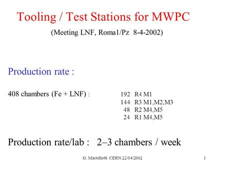 G. Martellotti CERN 22/04/20021 Tooling / Test Stations for MWPC (Meeting LNF, Roma1/Pz 8-4-2002) Production rate : 408 chambers (Fe + LNF) :192 R4 M1.