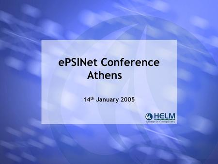 EPSINet Conference Athens 14 th January 2005. mepsir Athens 14 th January 2005 mepsir Measuring European Public Sector Information Resources Project won.