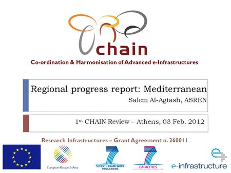 Co-ordination & Harmonisation of Advanced e-Infrastructures Research Infrastructures – Grant Agreement n. 260011 Regional progress report: Mediterranean.
