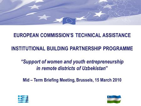 "E C P E F EUROPEAN COMMISSION'S TECHNICAL ASSISTANCE INSTITUTIONAL BUILDING PARTNERSHIP PROGRAMME ""Support of women and youth entrepreneurship in remote."