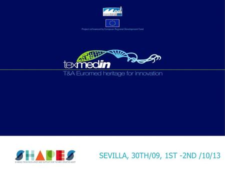 SEVILLA, 30TH/09, 1ST -2ND /10/13. Project Transnational Cofinanced by European Regional Development Fund (ERDF) Framework the European Territorial Cooperation.