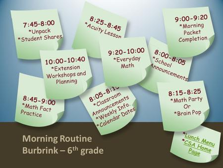 Morning Routine Burbrink – 6 th grade On Click Animated Version.