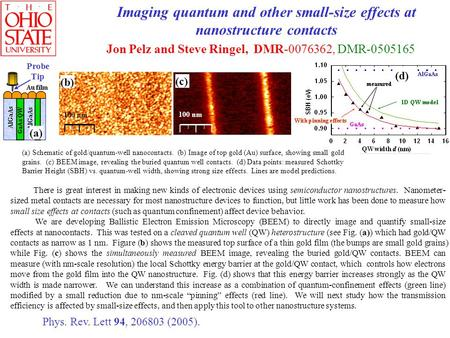 Imaging quantum and other small-size effects at nanostructure contacts Jon Pelz and Steve Ringel, DMR-0076362, DMR-0505165 There is great interest in making.