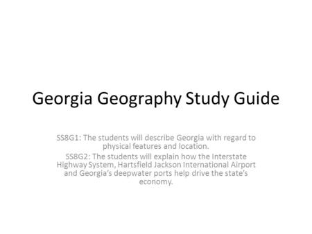 Georgia Geography Study Guide