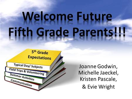 Joanne Godwin, Michelle Jaeckel, Kristen Pascale, & Evie Wright 5 th Grade Expectations Summer Activities Field Trips & Volunteering Communication Typical.
