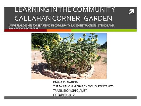  LEARNING IN THE COMMUNITY CALLAHAN CORNER- GARDEN UNIVERSAL DESIGN FOR LEARNING IN COMMUNITY BASED INSTRUCTION SETTINGS AND TRANSITION PROGRAMS DIANA.