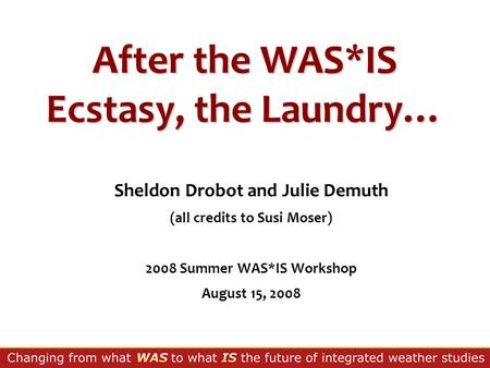 After the WAS*IS Ecstasy, the Laundry… Sheldon Drobot and Julie Demuth (all credits to Susi Moser) 2008 Summer WAS*IS Workshop August 15, 2008.