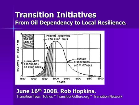 Transition Initiatives From Oil Dependency to Local Resilience. June 16 th 2008. Rob Hopkins. Transition Town Totnes * TransitionCulture.org * Transition.