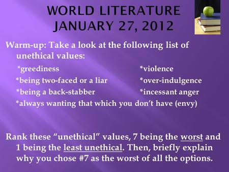 WORLD LITERATURE JANUARY 27, 2012