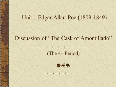 an analysis of moralism and romanticism of edgar allan poes work Poe, edgar allan 1809-1849, writer the south's most renowned literary artist of the 19th century spent most of his productive years as.