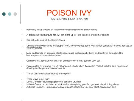 POISON IVY FACTS, MYTHS & IDENTIFICATION  Poison Ivy (Rhus radicans or Toxicodendron radicans) is in the Sumac Family.  A deciduous vine hardy to zone.