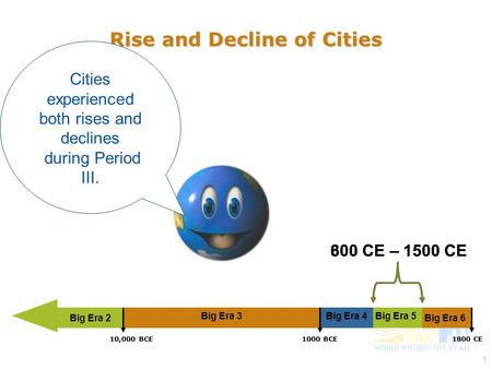 1 Rise and Decline of Cities Cities experienced both rises and declines during Period III. Big Era 2 300 CE – 1500 CE Big Era 3Big Era 5Big Era 4 1800.