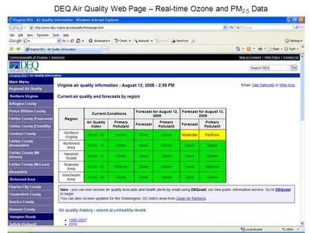 DEQ Air Quality Web Page – Real-time Ozone and PM 2.5 Data.