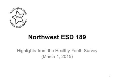 Northwest ESD 189 Highlights from the Healthy Youth Survey (March 1, 2015) 1.