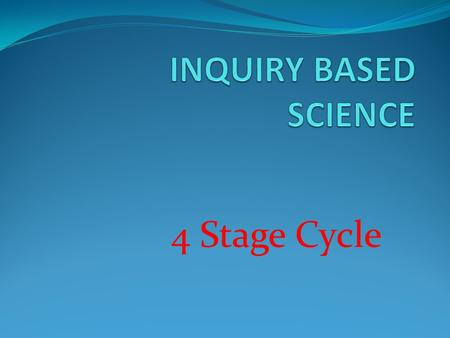 4 Stage Cycle. First, students focus on what they already know about a topic.