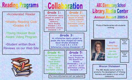 Photo of Media center with students working Staff: Tammie Klage Media Specialist John Doe Sally Smith Support Staff Photo of staff member Mission Statement.