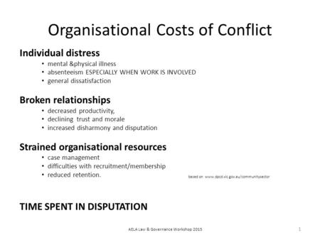 Organisational Costs of Conflict Individual distress mental &physical illness absenteeism ESPECIALLY WHEN WORK IS INVOLVED general dissatisfaction Broken.