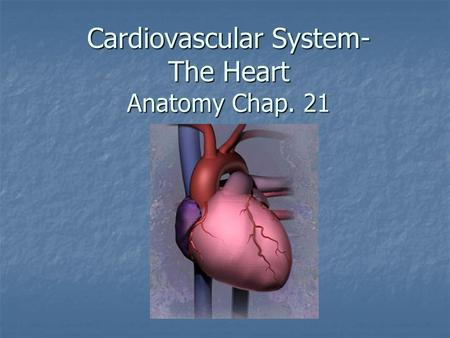Cardiovascular System- The Heart Anatomy Chap. 21.