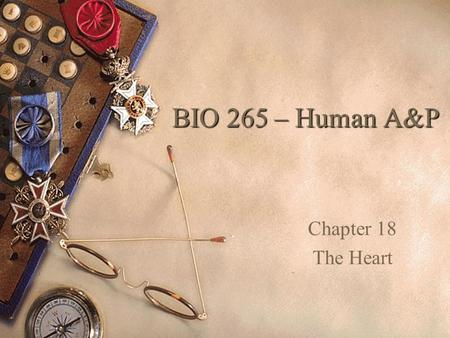 BIO 265 – Human A&P Chapter 18 The Heart.