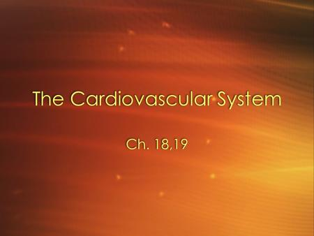 The Cardiovascular System Ch. 18,19. Introduction Cardiovascular system –Heart –Blood vessels Arteries Capillaries Veins Cardiovascular system –Heart.