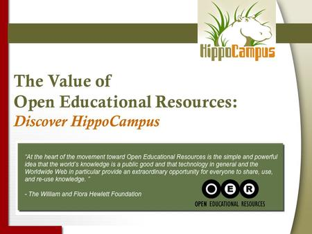 The Value of Open Educational Resources: Discover HippoCampus.