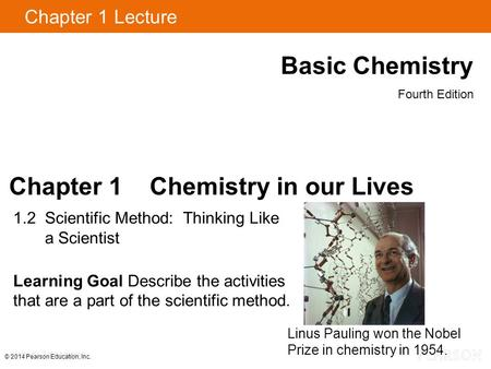 Chapter 1 Lecture Basic Chemistry Fourth Edition Chapter 1 Chemistry in our Lives 1.2 Scientific Method: Thinking Like a Scientist Learning Goal Describe.